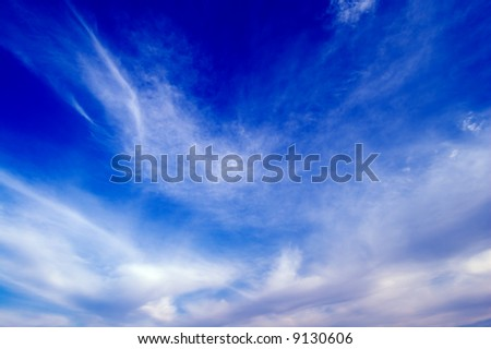 blue sky and beautiful fluffy white clouds - stock photo