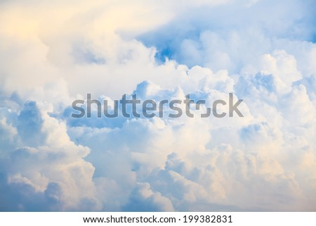Blue sky and big clouds abstract - stock photo