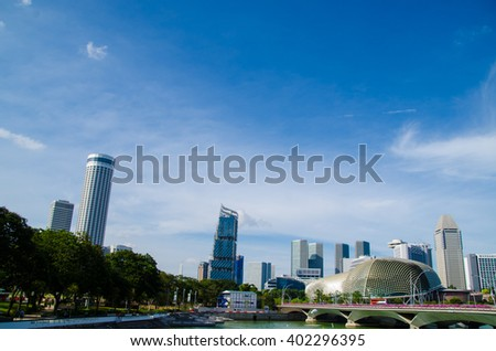 blue sky and business building in Singapore