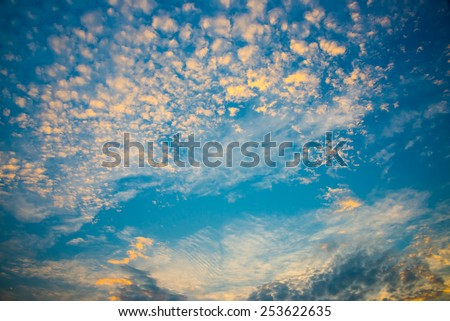 blue sky and cloud at  twilight - stock photo