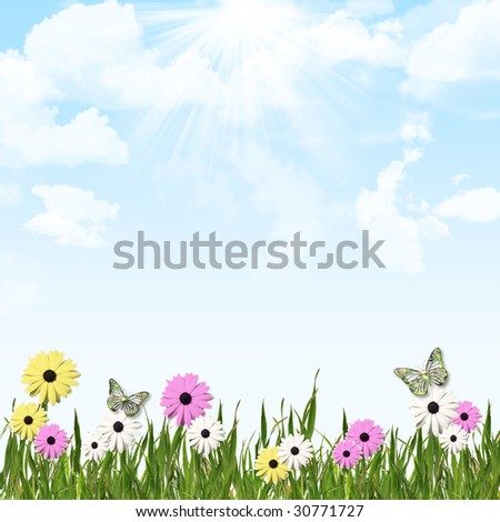 Blue sky and cloud background with grass and flower border