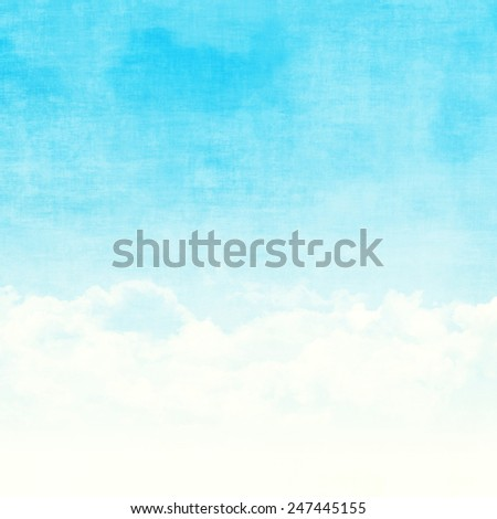 Blue sky and clouds abstract grunge background illustration with copy space - stock photo