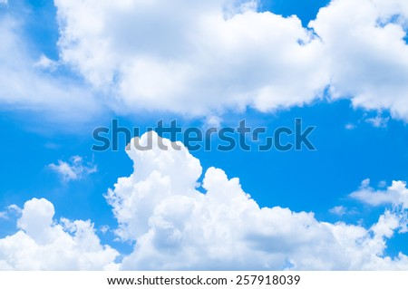 blue sky and clouds -  bright climate peaceful weather daylight heavenly - stock photo