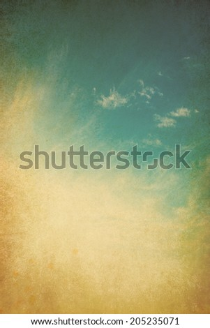 Blue sky and clouds grunge background - stock photo