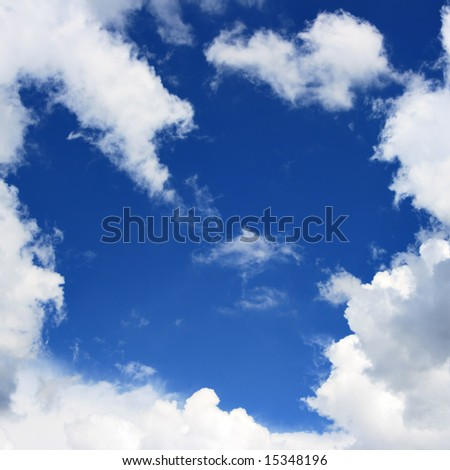 Blue sky and frame from clouds, may be used as background - stock photo