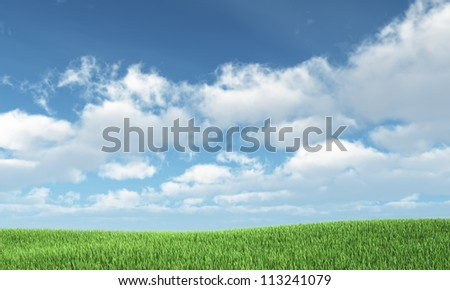 Blue sky and green hill - nature background - stock photo