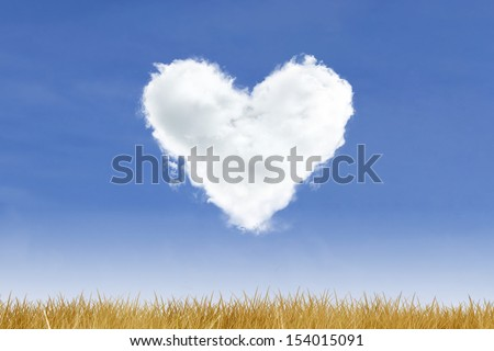 Blue sky and heart shaped cloud over yellow grass