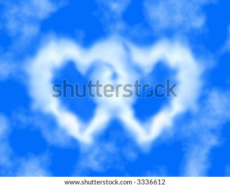 Blue sky and heart-shaped clouds ( love, valentine's day ) - stock photo