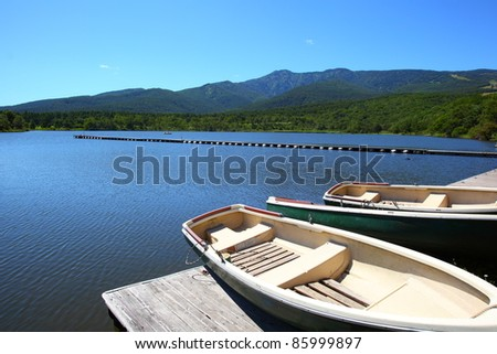 Blue sky and lake in the mountain