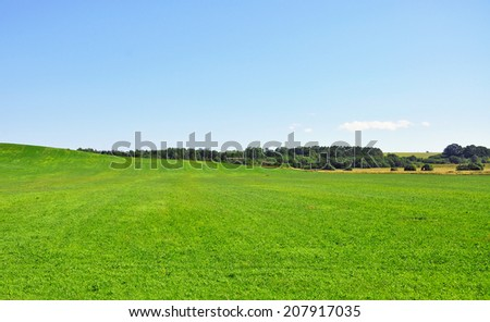 Blue sky and large green grass lawn - stock photo