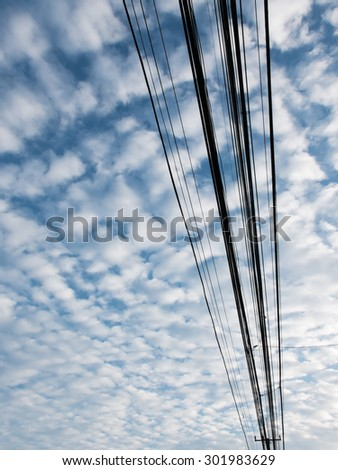 Blue sky and lines pole vertical