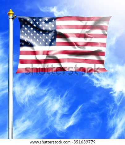 Blue sky and mast with hanged waving flag of United States of America