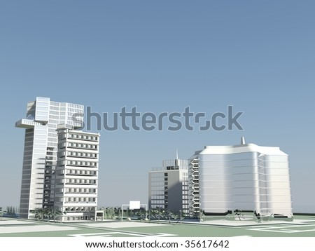blue sky and modern architecture - stock photo