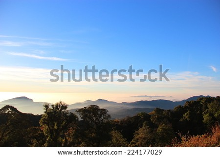 Blue sky and mountain view - stock photo