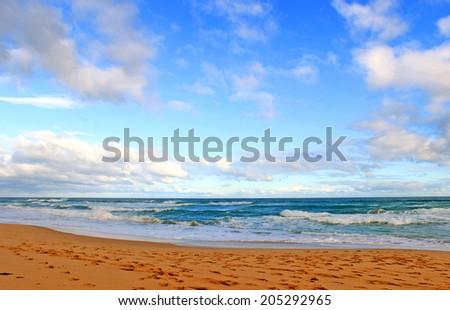 Blue sky and ocean beach - stock photo