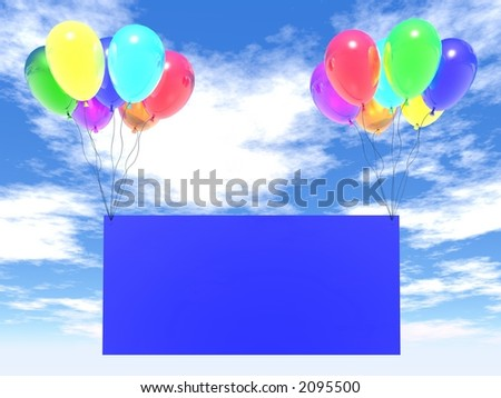 blue sky and rainbow balloons with empty blank - stock photo