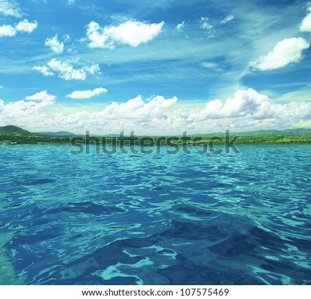 blue sky and sea surface