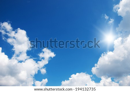 Blue sky and sun. - stock photo