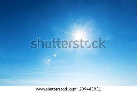 blue sky and sun - stock photo