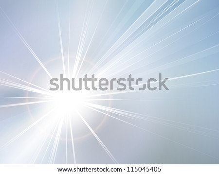 Blue sky and sun abstract background - stock photo