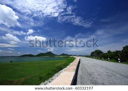 Blue Sky and Sunny Day at Bangpla Reservoir, Chonburi Province, Thailand - stock photo