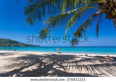 Blue sky and sunny day on Kamala beach in Phuket Thailand - stock photo