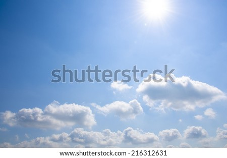 Blue sky and the sunlight with cloud
