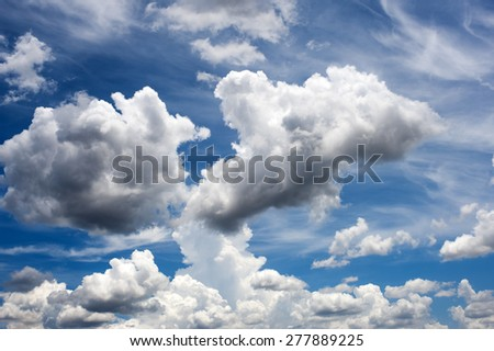 Blue sky and white cloud, background.