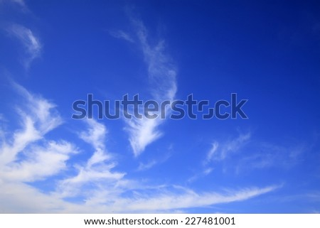 blue sky and white clouds, closeup of photo  - stock photo