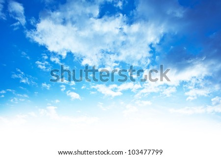 Blue sky background border, beautiful abstract natural backdrop, wallpaper clouds pattern, bright light, fresh clean clear cloudscape, skyscape image, peaceful nature with white add space - stock photo