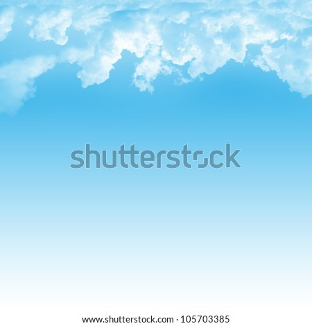 Blue Sky Background Template With Space for Text Message Isolated on Blue - stock photo