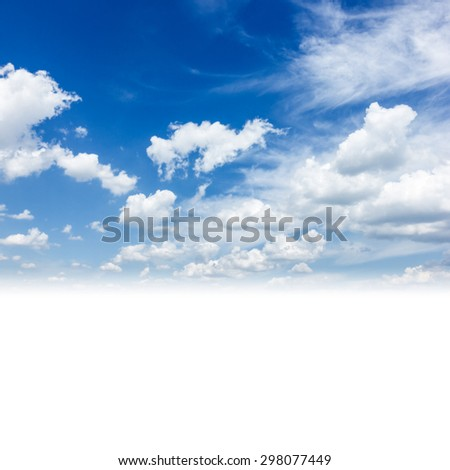 Blue  sky background with puffy  white clouds and copy space - stock photo
