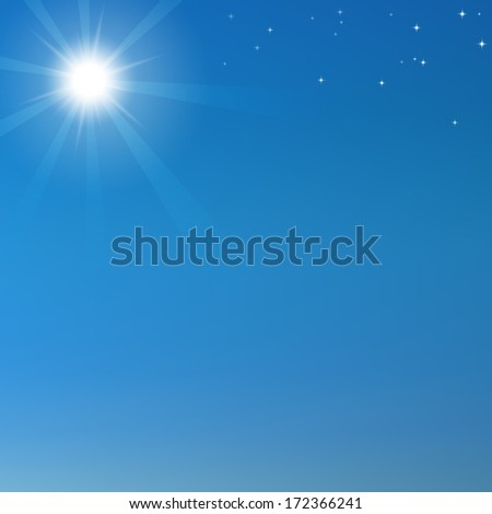 Blue sky background with shining sun and stars. Raster version illustration. - stock photo