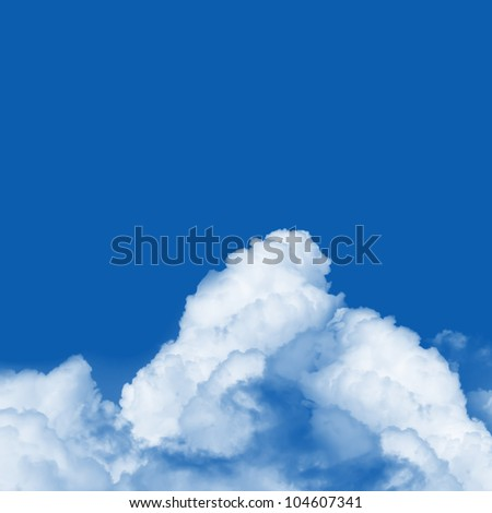 Blue Sky Background With Space for Text Message Isolated on Blue - stock photo