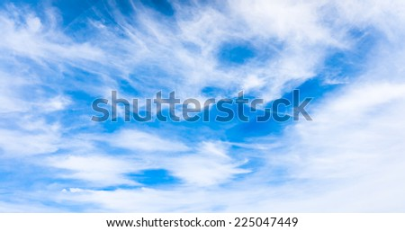 blue sky background with tiny clouds. Beautiful Blue Sky - stock photo