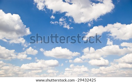 blue sky background with white clouds in perspective