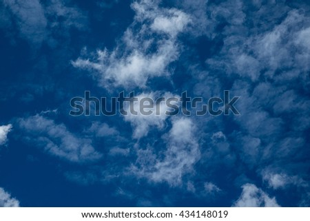 blue sky background with white heart clouds