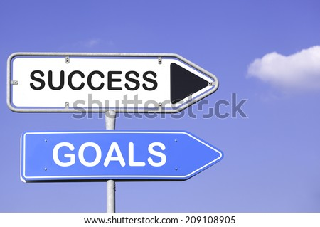 blue sky behind two white and blue road signs  on a metal mast with arrows to the right hand side showing the way to success and goals