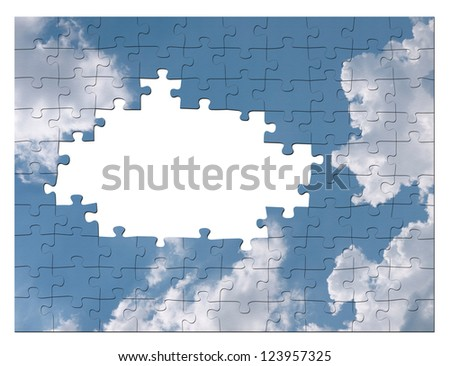 Blue sky business solution concept - cloud jigsaw - stock photo