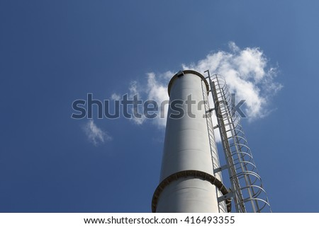 blue sky. cloud. factory chimney. environmental concept. greenhouse gases. ecology. - stock photo