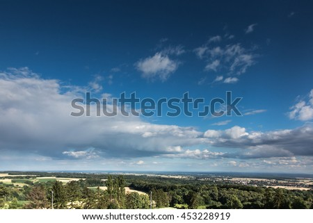 blue sky covered with white clouds - stock photo