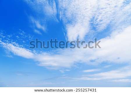 blue sky fluffy clouds nature - stock photo
