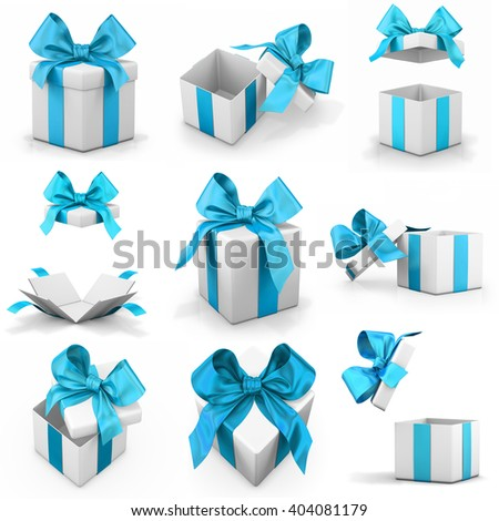 blue sky gift box set 3d rendering - stock photo