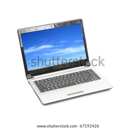 blue sky in laptop isolated on white background(sky is my photo) - stock photo
