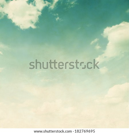 Blue sky in retro and grunge style. - stock photo