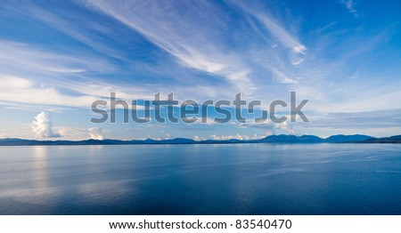Blue Sky Meets the Ocean in the Gulf of Alaska - stock photo