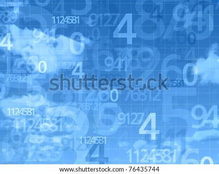 blue sky numbers background illustration - stock photo