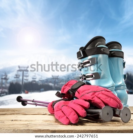 blue sky of winter day and vacation on ski  - stock photo