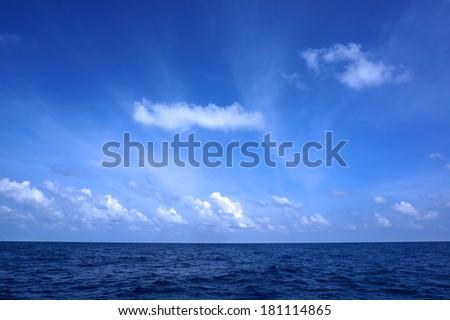 Blue sky on deep sea                                - stock photo