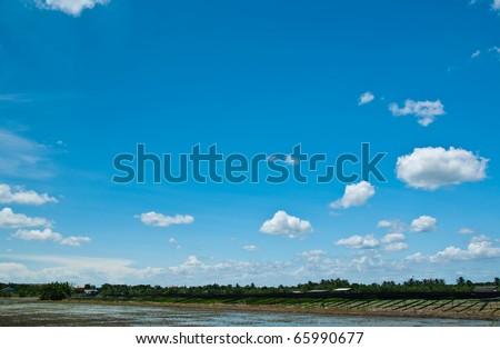blue sky on farm - stock photo